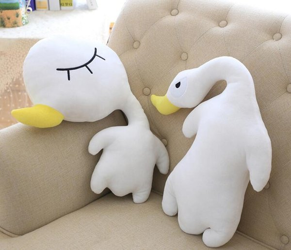 New 45CM 48CM Short Plush Duck Plush Toy Staffed Lovely Little Duck Plush Doll Lie Duck with Nanoparticle Doll Birthday Gift Free Delivery