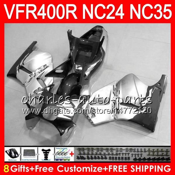 RVF400R For HONDA VFR400 R NC24 V4 VFR400R 87 88 94 95 96 81HM89 Grey silvery RVF VFR 400 R NC35 VFR 400R 1987 1988 1994 1995 1996 Fairings
