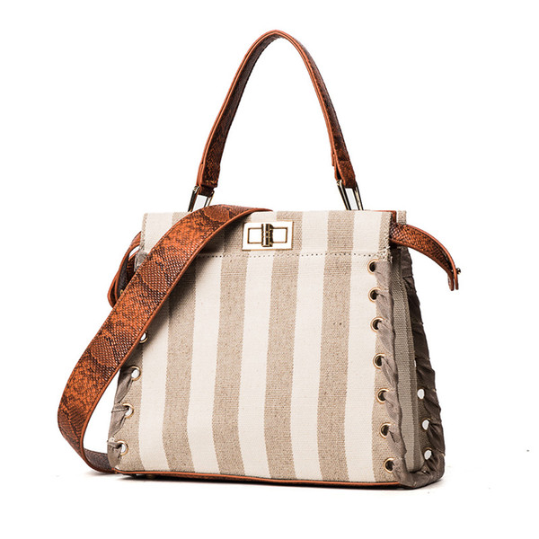 ad529fbd95 2017 New Fashion Woman Shoulder Bags Famous Brand Luxury Snake Stripe  Straps Handbags Women Bags Designer
