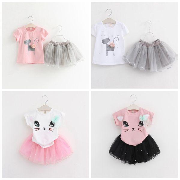 2Pcs Kids Baby girls skirt outfit Clothes Cat Print T shirt Tops tutu skirt set Clothing sets Children Cute kat skirts for kids