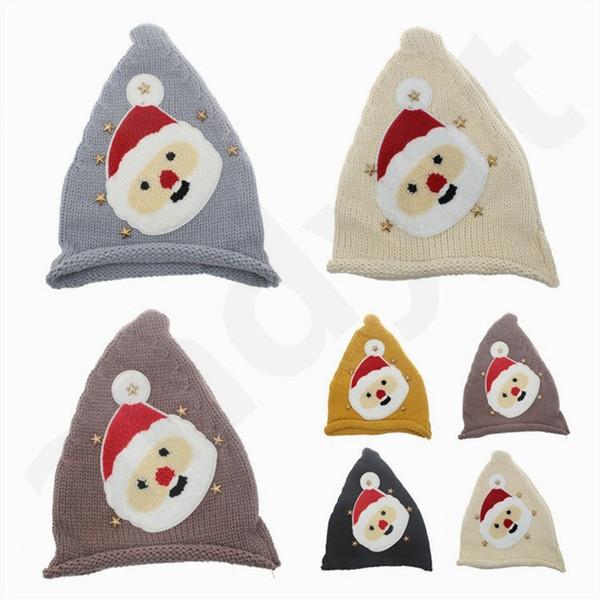 Heißer Verkauf Infant Christmas Cap Kinder Weihnachten Hut Herbst Winter Weihnachtsmann Stricken Woolen Garn Hut Weihnachten Strickmütze T7G010