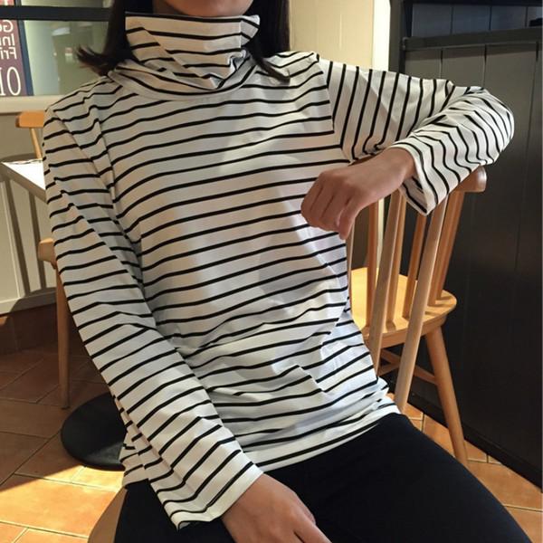 Tee Shirts Woman 2018 Spring New Korean Harajuku Striped Turtleneck T-shirt For Women Long Sleeve T shirts Casual Tops