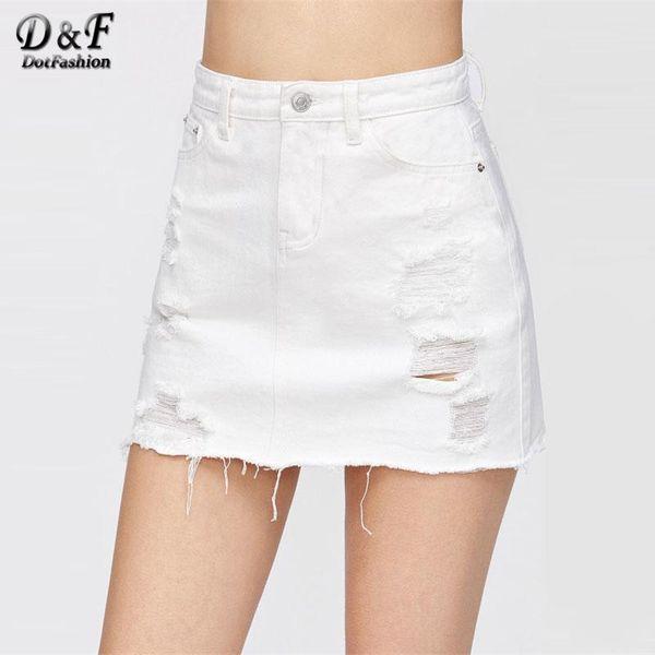Dotfashion Distressed Fray Hem Denim Skirt 2018 New White Ripped Casual Women Bottom Mid Waist Sheath Short Plain Skirt