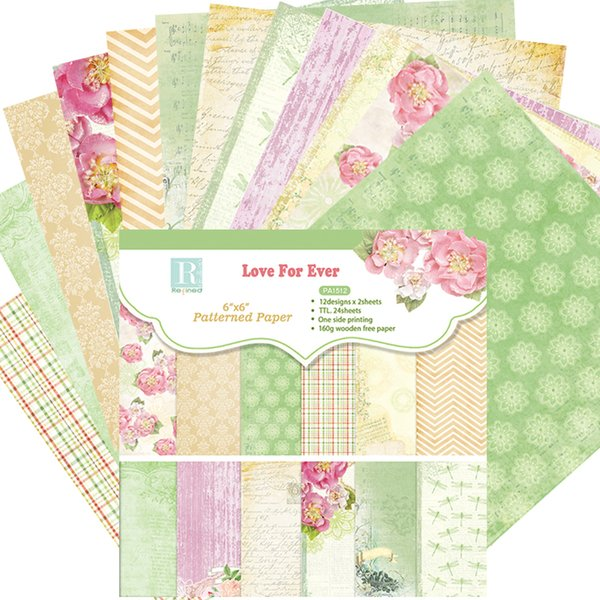 """DIY Album Photo Scrapbooking set Decorative Papers Lover For Ever Craft paper 6""""inch X 6"""" inch Single Side Printed 24 pcs/Set"""