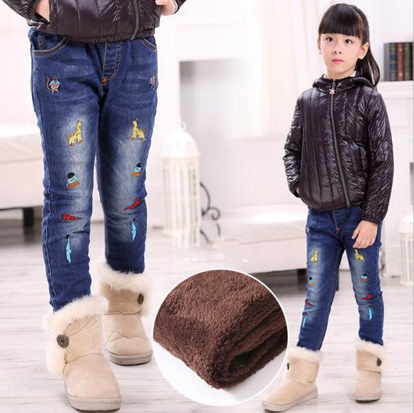 Thicken Winter Jeans for Girl Warm Denim Pants for Kids Cartoon Printed Girls Jeans High Quality for Height