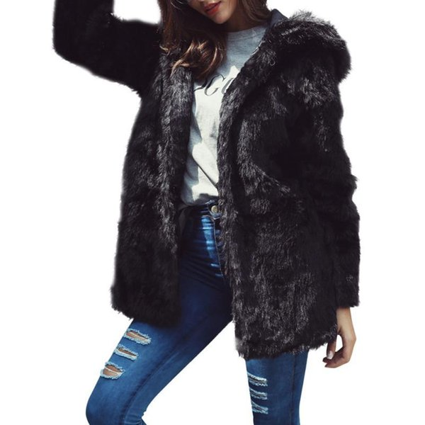 Women Warm Thickening Long Coat Jacket Faux Fur Fox Mink Parka Outwear Cardigan