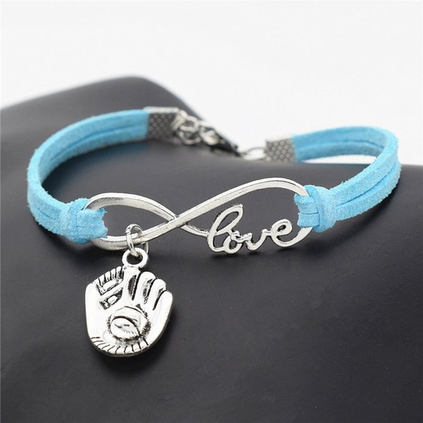 High Quality Blue Leather Suede Rope Charm Bracelets DIY Infinity Love Palm 3D Baseball Glove Sports Pendant Bangles for Womens Mens Jewelry