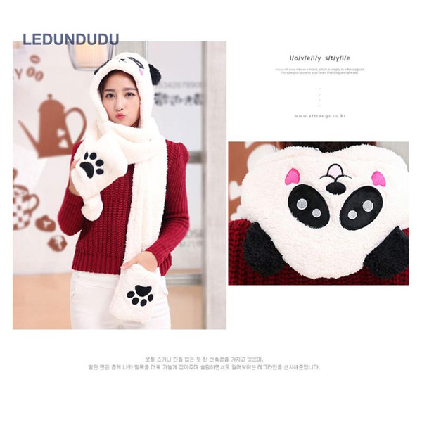 3 in 1 Functions Animal Cartoon Coral Fleece Scarf Winter Lovely Panda Hat with Gloves for Kids Adult Christmas Gift