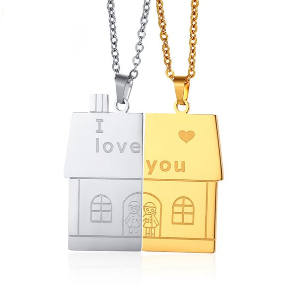 Unisex Women Men I Love You Full House Couple Pendants Necklace for Lovers Family Love Stainless Steel Jewelry