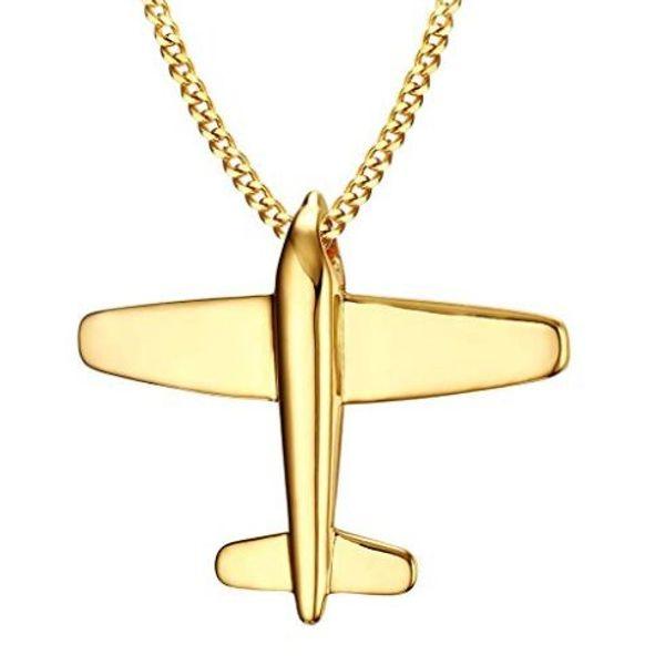 Livraison gratuite en acier inoxydable papier avion pendentif avion collier, plaqué or, chaîne libre 24