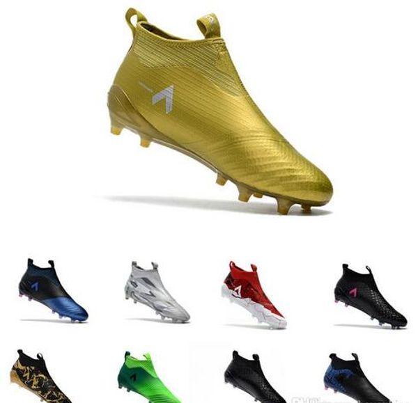 Botas de fútbol ACE 17+ PureControl FG baratas Zapatos de fútbol de fútbol al aire libre de oro negro Botines de fútbol Paul Pogba Capsule Boy