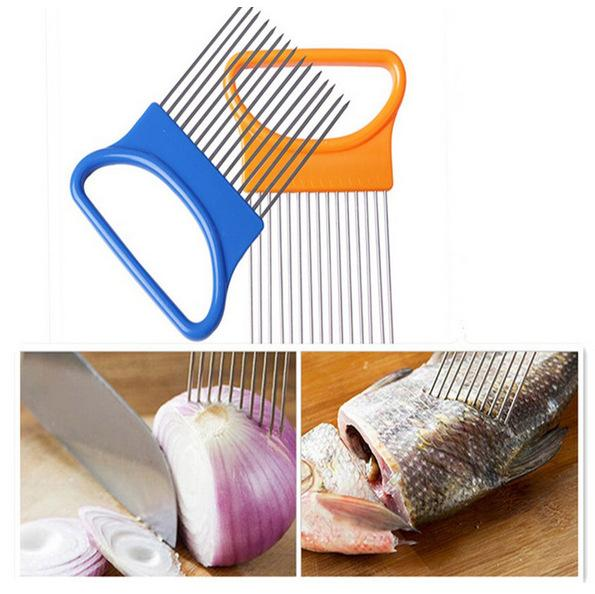 Onion Slicer Cut Vegetable Slicer peeler Onion Holder Fork Tomato Cutting Aid Guide Holder Fruit Cutter Kitchen Cooking Accessories
