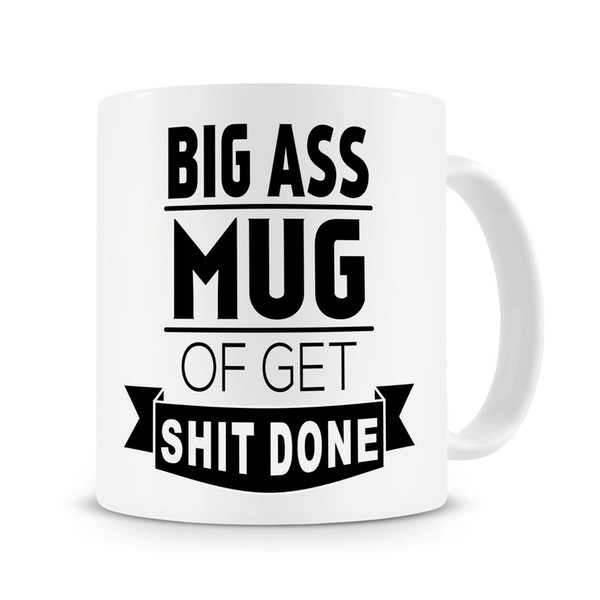 Big As S Mug of Get Shi T Done Mug Funny Coffee Rude Text Cup with Stirring Spoon
