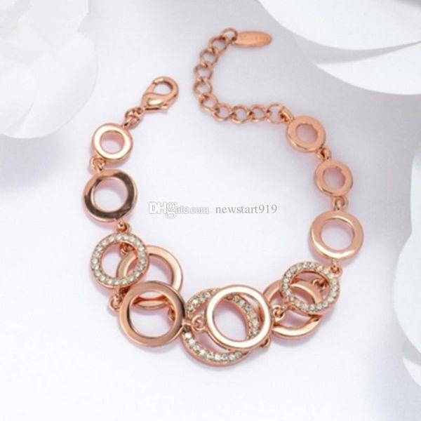 Rose Gold Silber Farbe Kreise Armband Armreifen für Frau Strass gepflastert Doppelschicht Runde weibliche Armbänder
