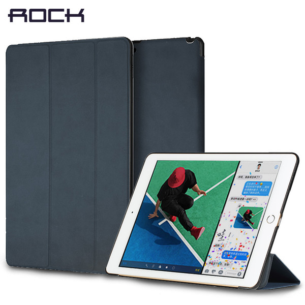 Leather Cover Stand For iPad 9.7 pro 10.5 12.9 inch 2017, ROCK Auto Sleep Wake-up Magnet Holder Protector Shell For iPad 2017