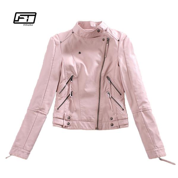 Autumn Womtne Faux Leather Jacket Short Design Soft Pu Slim Pink Jacket Punk Fashion Womens Biker Motorcycle Clothing