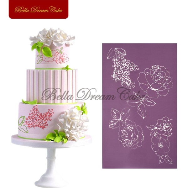 2017 New Design Peony Mesh Stencil Cake Decorating Molds, Fondant Cake Lace Baking Tools, Kitchen Dining Bakeware Template MS-03
