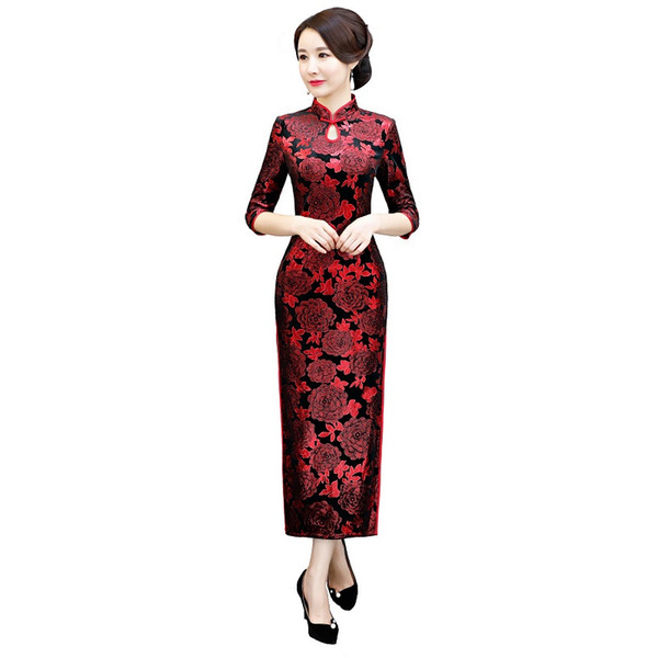 Shanghai Story 2018 New Sale 3/4 Sleeve Keyhole Floral Qipao Velvet Cheongsam Dress Red Long Chinese Traditional Dress
