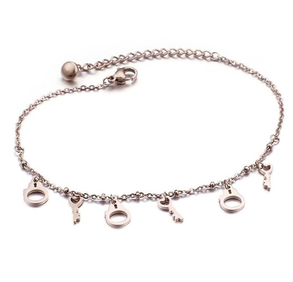 Hot Selling Stainless Steel Anklets For Womens Simple Beads Rose gold Chain Anklet Foot Jewelry free shipping