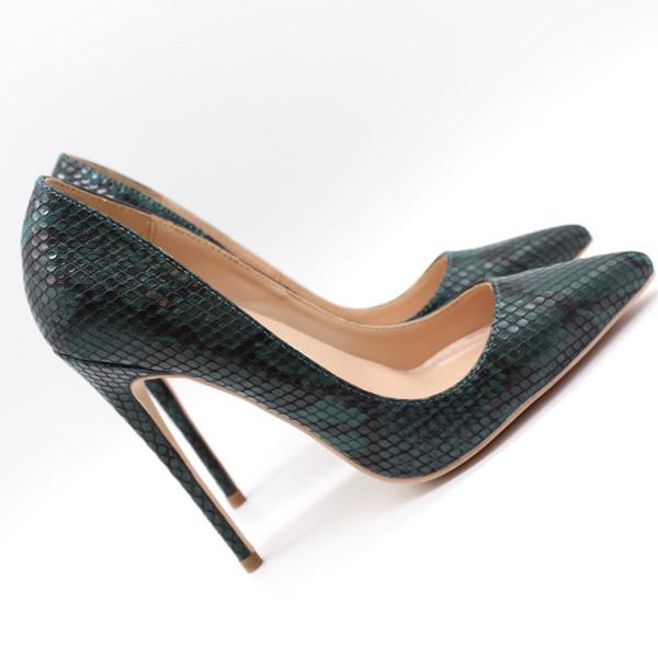 Livraison gratuite mode femmes pompes serpent vert foncé python imprimé point orteil talons hauts cône talon chaussures sandales talon