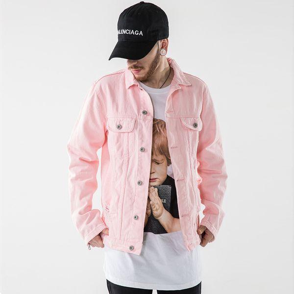 hhwq105 / Men's Black Pink Denim Jackets Zippered Long Sleeve Ripped Distressed Jean Jacket Men Women Hip Hop Spring Coat Streetwear TXH0338