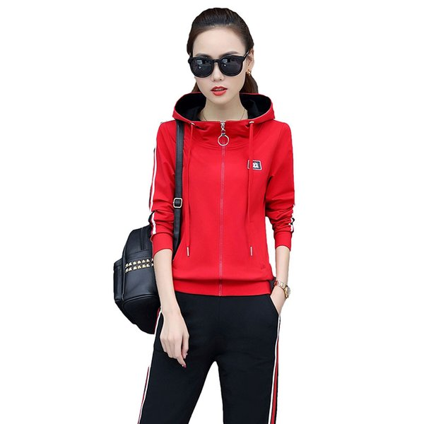 Red Hoodie For Women Full Zipper With Pockets Black Pant 2 Piece Sport Wear 283 Plus Size Sport Hoodie Set Woman Fashion Tracksuits 4 Colors