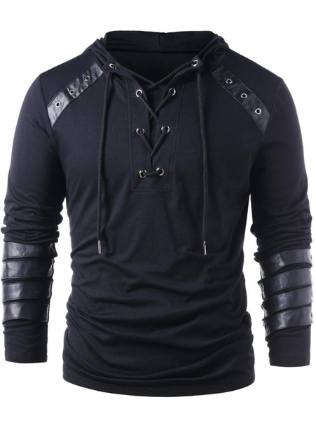 Kenancy Brand Designer Men Lace Up Faux Leather Hoodies Solid Long Sleeves Casual Sweatshirts Gothic Autumn Male Pullovers Tops
