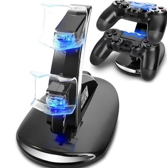 LED Dual Charger Dock Mount USB Charging Stand For PlayStation 4 PS4 Xbox One Gaming Wireless Controller With Retail Box Hot Sale