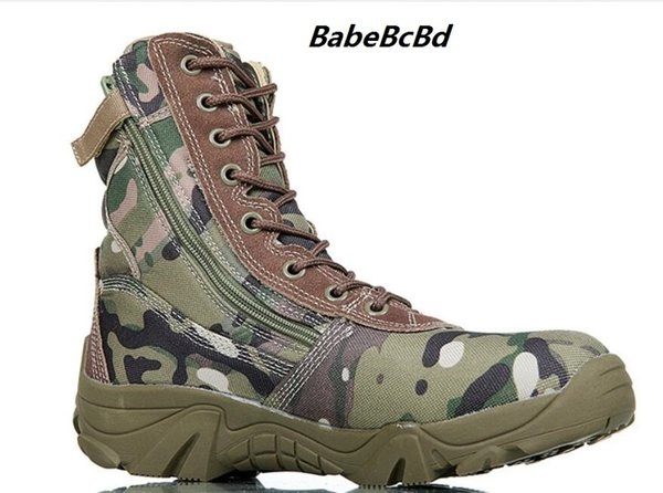 Spring Men Military Tactical Boots High Top Canvas Round Toe Zipper Lace Up Combat Army Boot Mens Ankle Casual Desert Shoes