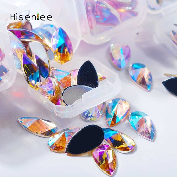 2Boxes Four Grids Top Fashion Shiny AB Color Flat Bottom Drop Shape Acrylic Rhinestone Glamour Nail Art Accessories Decoration