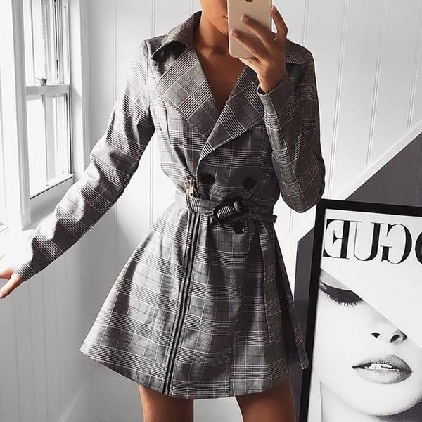 2018 Outono Mulheres Moda Elegante Blazer Casual Feminino Xadrez Impressão Zíper Projeto Trespassado Com Cinto Trench Coat