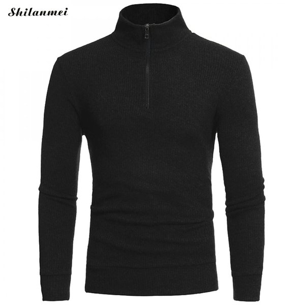 Autumn Winter Black Fashion Brand Men Sweater Knied Zipper Slim Fit Navy Blue Pullover Turtleneck Casual Gray Mens Sweaters