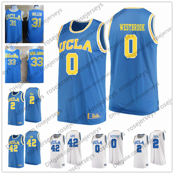UCLA Bruins #0 Russell Westbrook 2 Lonzo Ball 31 Reggie Miller 42 Kevin Love blue white Stitched 2018 NEW College Basketball Jerseys S-3XL