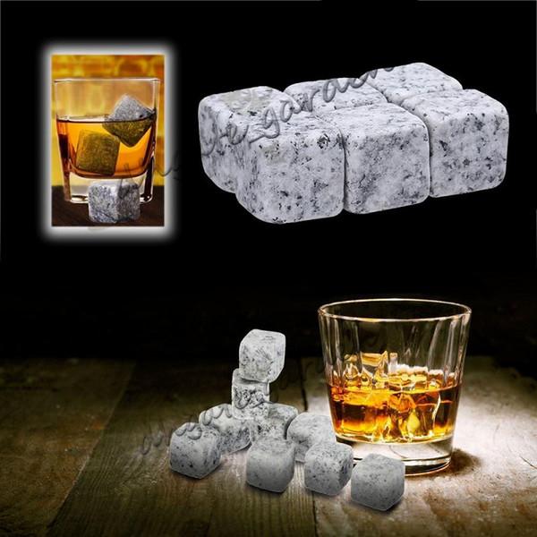 9 adet / takım Viski Taşlar Kullanımlık Buz Taş Chilling Rocks Küpleri Viski Bourbon Noel hediyesi Kadife Depolama Kılıfı çanta
