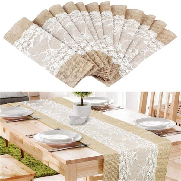 top popular Burlap Lace Hessian Table Runner Vintage Tablecloth Rustic Jute Country Thanksgiving Christmas Baby Wedding Party Decoration Table Decor 2019
