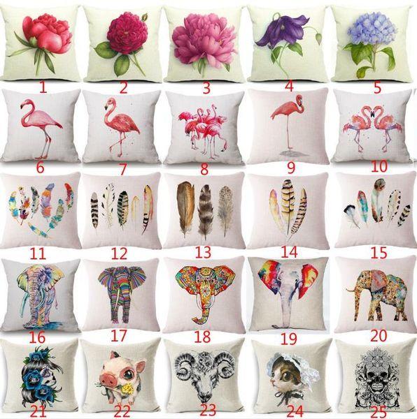 Pink Flamingo Plumage Cushion Cover Cotton Linen Sofa Chair Cushion Flower Elephen Home Decorative Throw Pillow Case Animal