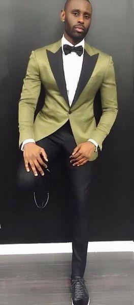 wonderful_suit / KUSON New Design Stylish Suit Men Bräutigam Hochzeit Smoking 2 Stück (Green Jacket + Black Pants) Party Prom Formal Satin Men Smoking