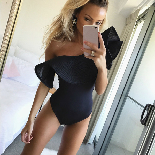 2019 One Shoulder Ruffled Bodysuit Tops Retro Black Bodysuits Jumpsuits Classic Vintage Sexy JumpSuit