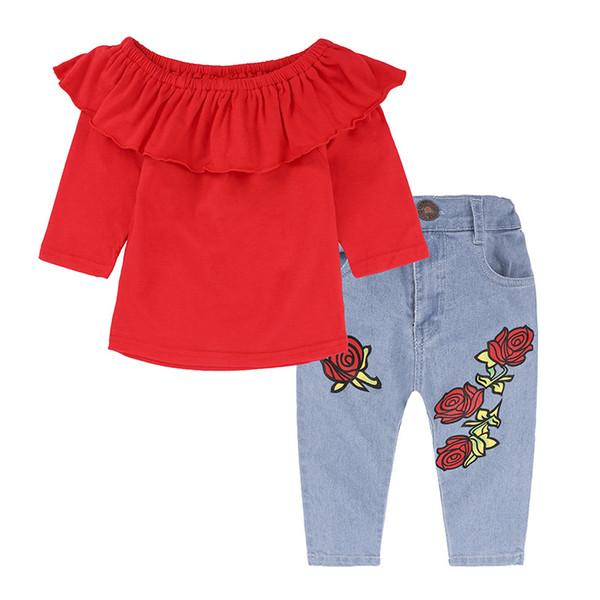 699fdba37f2a5 Crianças Roupas Definir Ombro Topo Primavera Outono Roupas de Bebê para  Meninas Roupas Criança Moda Camiseta