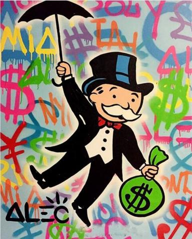 Alec Monopoly Oil Painting on Canvas Graffiti Wall Art Home Decor Handmade pop Abstract Art Various sizes / Frame Options,g04