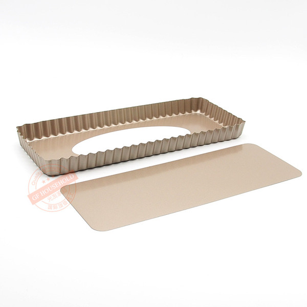 Eco-Friendly Non -Stick 14 Inch X 6 Inch Loose Bottom Rectangular Tart /Quiche Pan Baking Tools Free Shipping Stocked