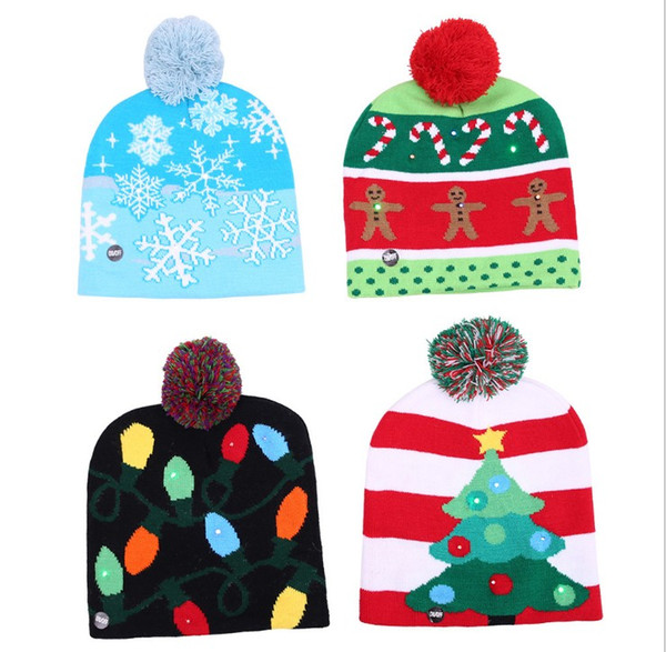 LED Christmas Crochet Hat Beanie Knitted Wool Cap Warm For Winter Soft Xmas Party Hat Unisex Kids