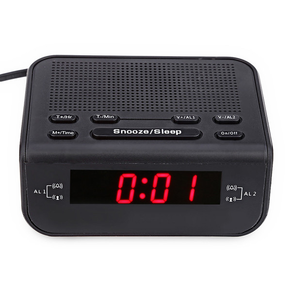 2017 modernes design wecker fm radio mit dual alarm summer snooze sleep funktion kompakte digitale rote led zeitanzeige uhren