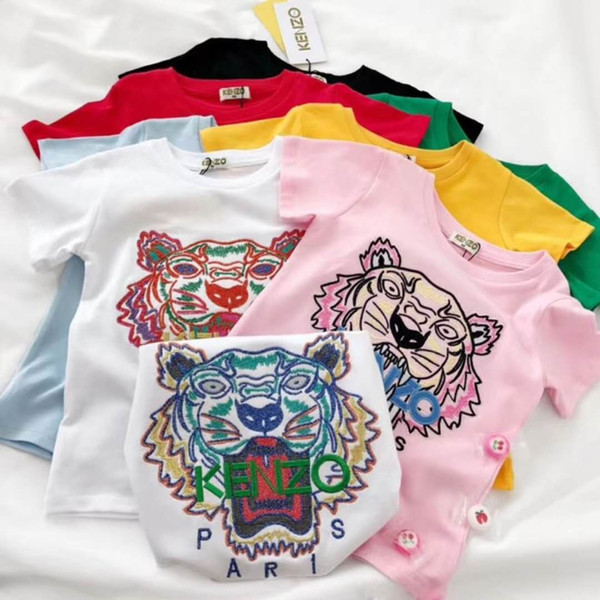 top popular More colors Children Summer T-Shirts tiger head Pattern Tops Baby Girls Boys T-shirt Kids Clothes 3-8 Years K-4 2020