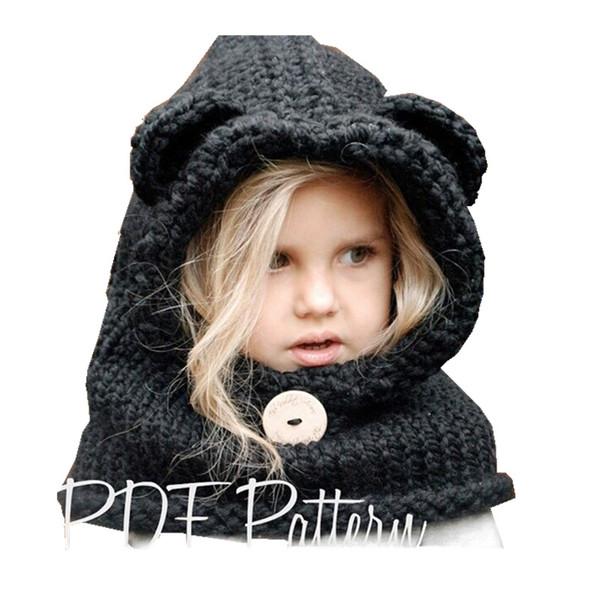 1-7 Ans Bébé Filles Chapeaux À La Main Enfants D'hiver Chapeaux Wrap Fox Écharpe Casquettes Mignon Automne Enfants Laine Tricoté livraison gratuite