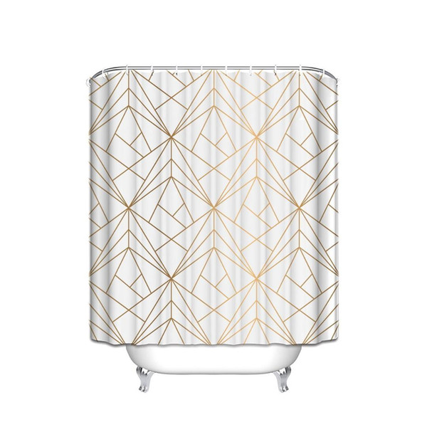 CHARMHOME Custom Geometric Gold Line Waterproof Polyester Fabric Shower Curtain Bathroom Decor Curtains with 12 Hooks Big Size