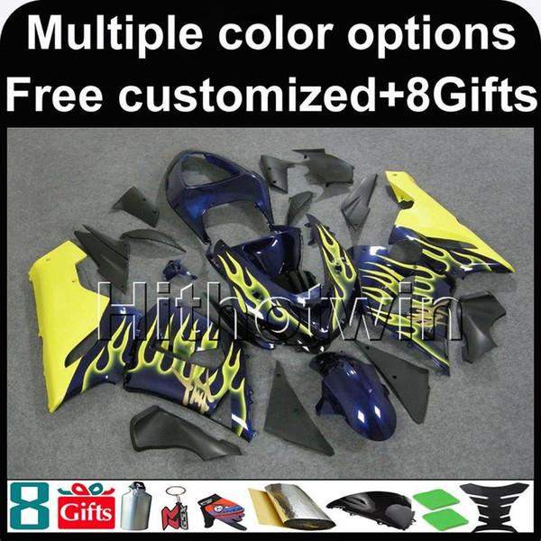 23colors + 8Gifts yellow flames bodywork Carenado para Kawasaki Ninja zx-6r 05 06 ZX 6R 636 ZX636 05-06 ZX6R