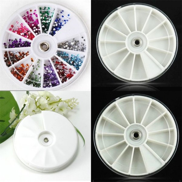 Jewelry Box Manicure Tool Articles Drill Storage Boxes 12 Lattices Rotate Disk DIY Plastic White High Quality 0 8hn V