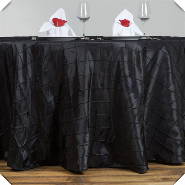 Amazing Home Textiles 120Inch Round Black Pintuck Taffeta Table Cloths Lattice Rectangle Table Spread Cover For Wedding Decoration Round Tablecloths For Sale Lamtechconsult Wood Chair Design Ideas Lamtechconsultcom