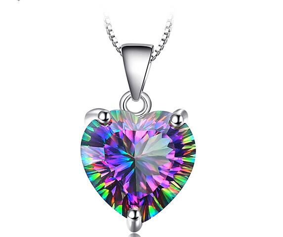 Genuine Rainbow Fire Mystic Topaz Pendant Solid 925 Sterling Silver Pendant Vintage Jewelry Without a Chain